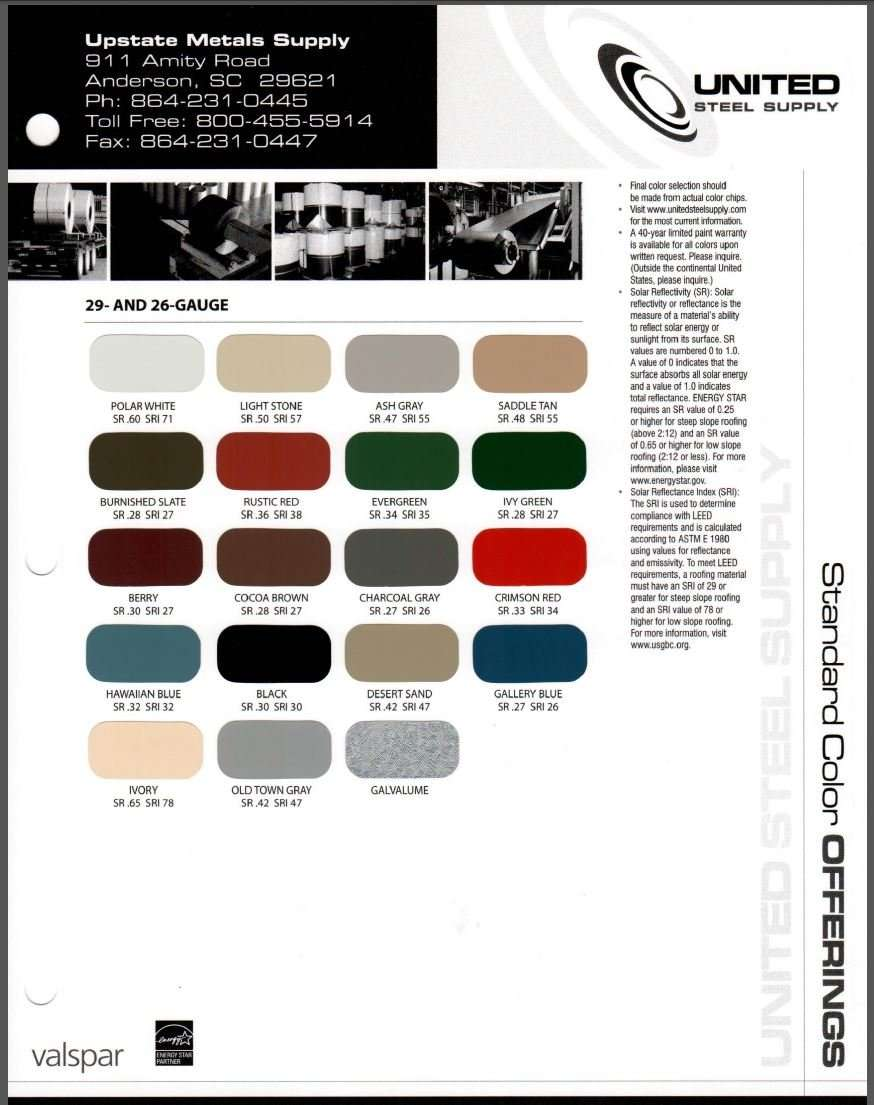 Services upstate metal supply color chart nvjuhfo Choice Image